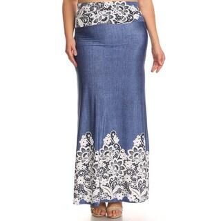 Women's Plus-size Paisley Denim Maxi Skirt