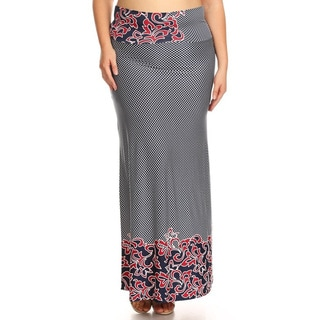 Women's Plus-size Abstract Maxi Skirt