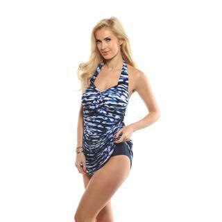 Magicsuit Blue Blurred Lines Jules Tankini and High Waist Bikini Swim Set|https://ak1.ostkcdn.com/images/products/14256267/P20844404.jpg?impolicy=medium