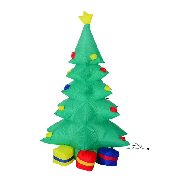 homcom 4 ft tall outdoor lighted airblown inflatable christmas lawn decoration holiday tree w