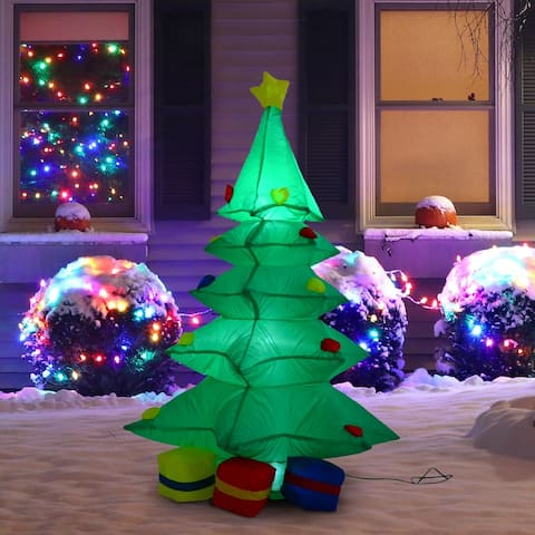 4' Tall Outdoor LED Inflatable Christmas Yard Decor - Holiday Tree With Presents