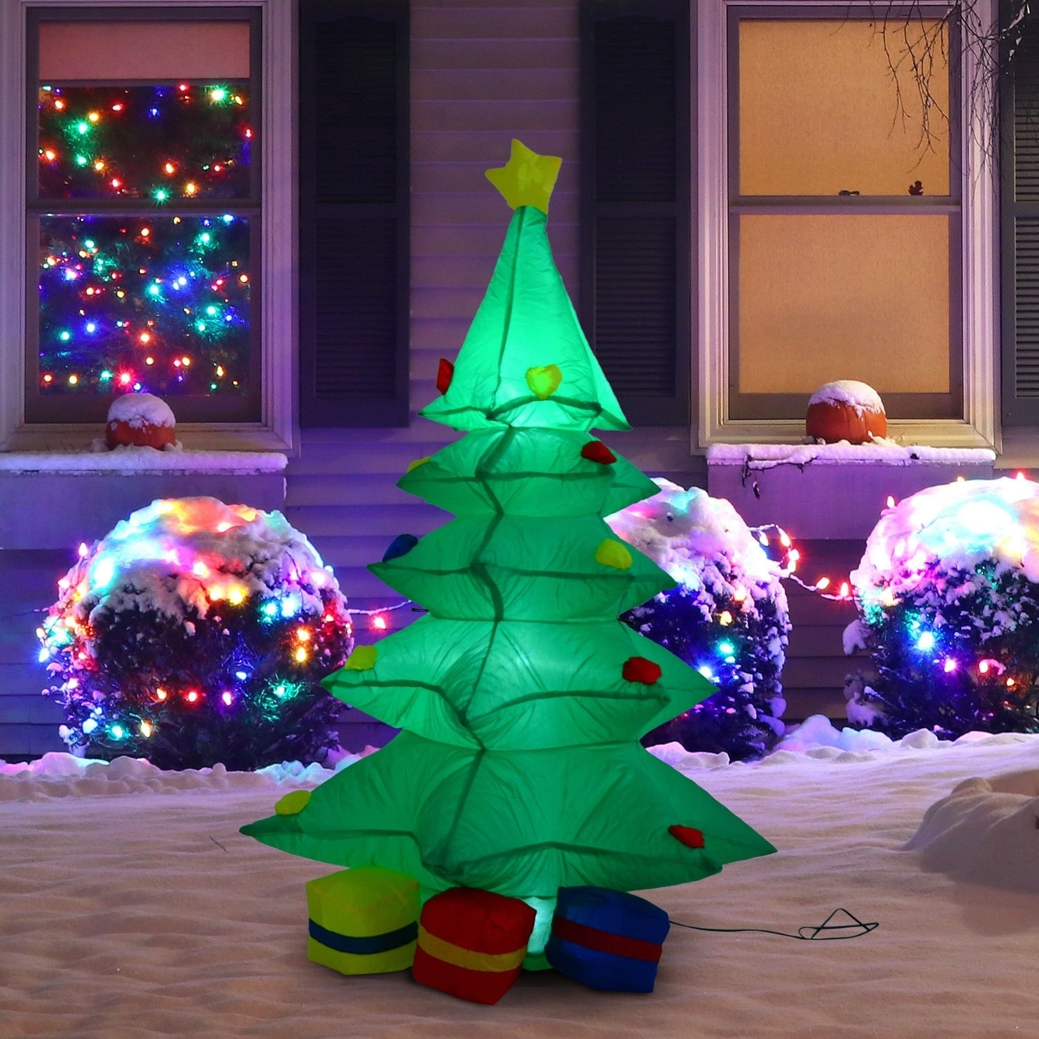 homcom 4 ft tall outdoor lighted airblown inflatable christmas lawn decoration - Lighted Christmas Lawn Decorations
