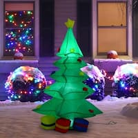 HomCom 4 Ft Tall Outdoor Lighted Airblown Inflatable Christmas Lawn Decoration - Holiday Tree W/ Presents