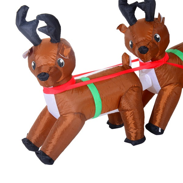 7 Foot Inflatable LED Lit Christmas Santa And Reindeer Lawn Decoration    Free Shipping Today   Overstock.com   20844395
