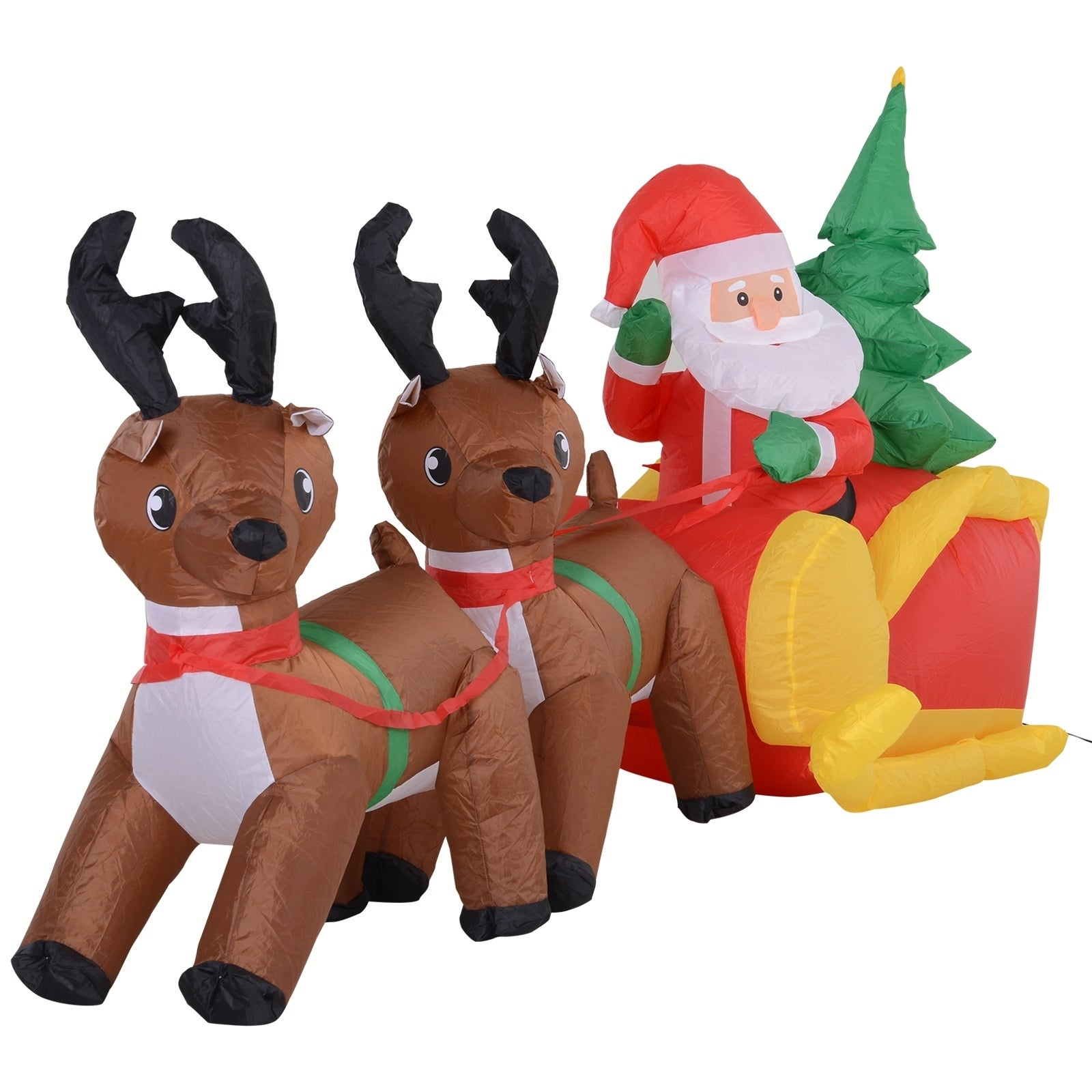 7 Long Outdoor Lighted Airblown Inflatable Christmas Lawn Decoration Santa s Sleigh & Reindeer