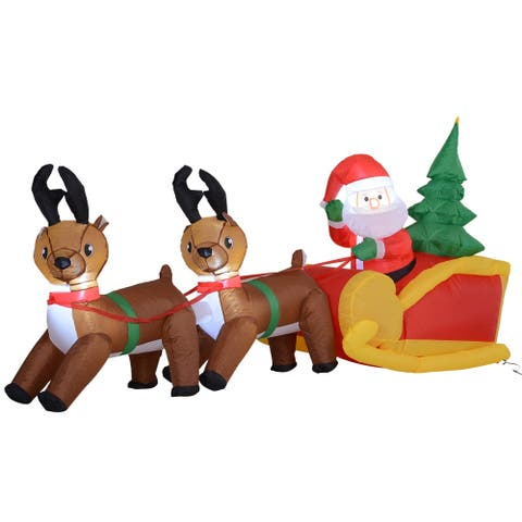 7-foot Lighted Inflatable Santa's Sleigh & Reindeer Lawn Decoration