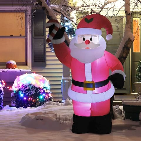 8' Outdoor LED Inflatable Holiday Christmas Yard Decoration - Santa with Candy Cane