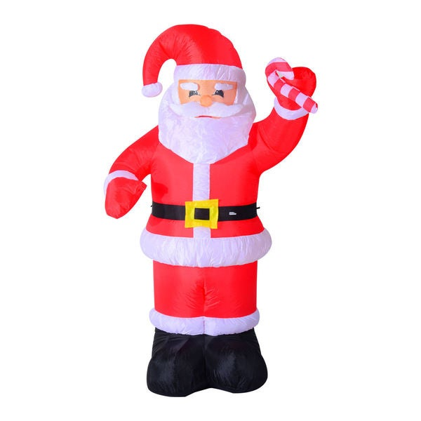 homcom 8ft indooroutdoor led inflatable holiday christmas yard decoration santa with candy cane - Cheap Inflatable Christmas Decorations