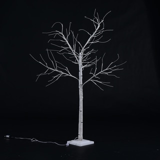 HomCom White LED Light Up 4-foot Birch Tree Holiday Decor