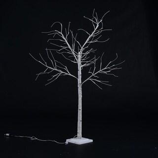 HomCom White LED Light Up 4-foot Birch Tree Holiday Decor