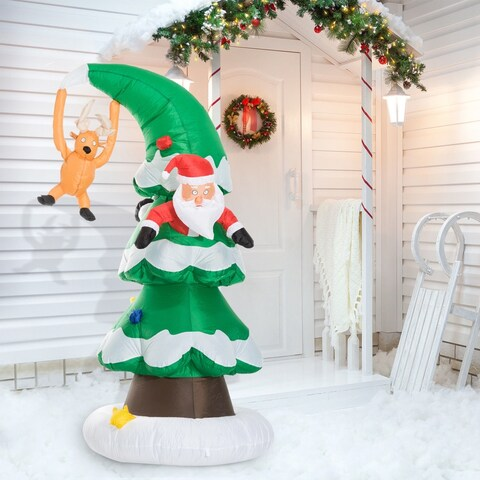 HomCom 7 Ft Tall Outdoor Lighted Airblown Inflatable Christmas Lawn Decoration - Santa Stuck in a Tree