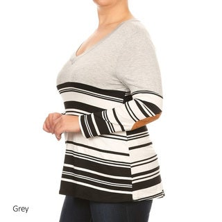 Women's Spandex Blend Plus Size Striped Tunic with Elbow Patch