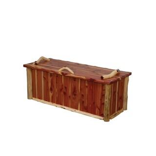 Rustic Red Cedar Log Blanket Chest - Amish