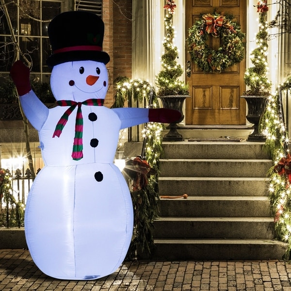 8' Waving Snowman Outdoor LED Light Inflatable Christmas Yard Decoration. Opens flyout.