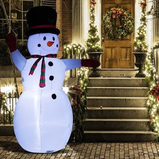 8ft indooroutdoor led inflatable holiday christmas yard decoration waving snowman