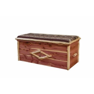 Rustic Red Cedar Log CUSHION TOP BLANKET CHEST- Bear Mountain Fabric