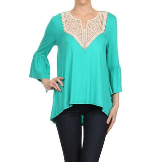 Women's Spandex Blend Sheer Yoke Embroidered Solid Tunic