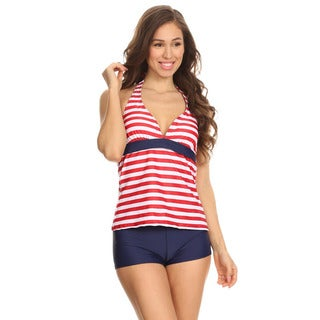 Dippin' Daisy's Women's Red Stripe Two-Piece Halter Tankini with Boyshorts