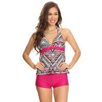 Famous Maker Women's Nylon and Spandex Geometric 2-piece Halter Tankini with Boyshorts