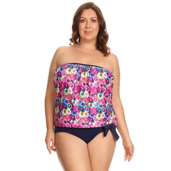 0ed22e1a63 Shop Famous Maker Multi Fancy Womens Plus Size Bandeau Blouson Tankini  Bikini - Free Shipping On Orders Over $45 - Overstock - 14256360