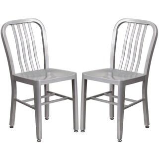 Industrial Design Silver Slat Back Metal Chair