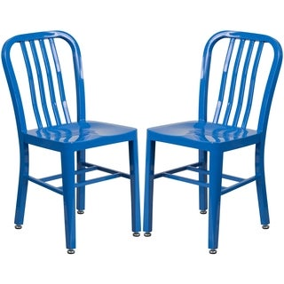 Industrial Design Blue Slat Back Metal Chair