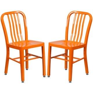Industrial Design Orange Slat Back Metal Chair