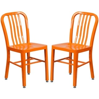 Industrial Design Orange Slat Back Metal Chair