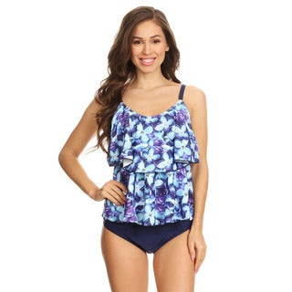 Famous Maker Women's Blue Nylon and Spandex Periwinkle 2-piece Halter Tankini with Boyshorts
