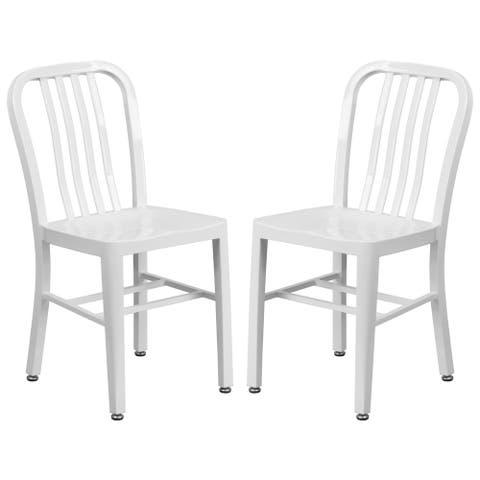 Industrial Design White Slat Back Metal Chair