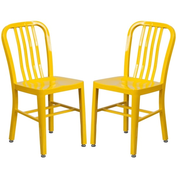 Shop Industrial Design Yellow Slat Back Metal Chair Free