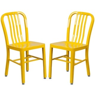 Industrial Design Yellow Slat Back Metal Chair
