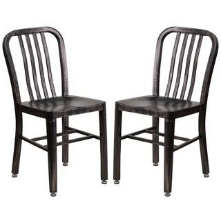 Industrial Design Black Antique Gold Slat Back Metal Chair