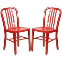 Industrial Design Red Slat Back Metal Chair