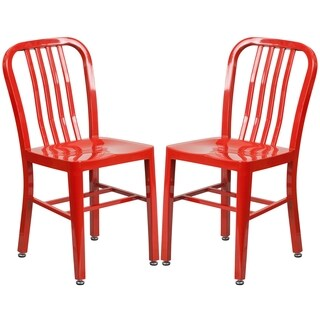 Industrial Design Red Slat Back Metal Chair