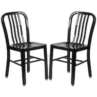 Industrial Design Black Slat Back Metal Chair
