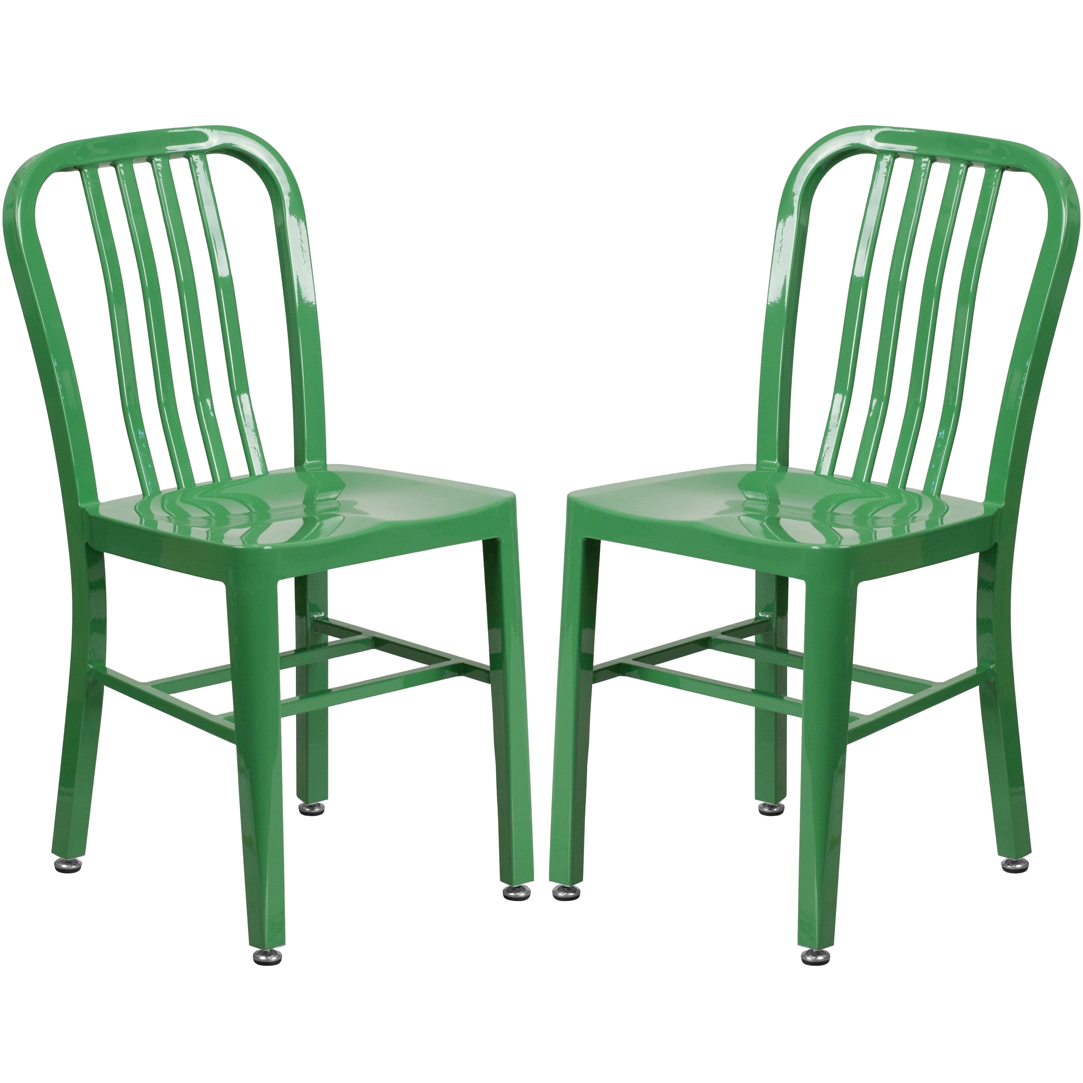 Industrial Design Green Slat Back Metal Chair (2 Chairs)