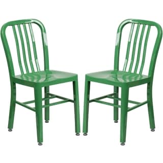 Industrial Design Green Slat Back Metal Chair
