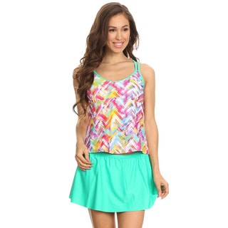 Dippin' Daisy's Women's Mint Plaid Nylon, Spandex Double-crossback Blouson Tankini with Skirted Bottom