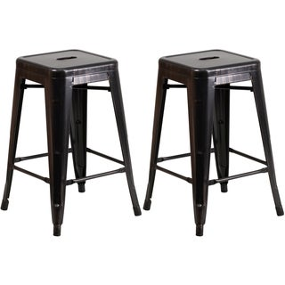 Industrial Style Black Antique Gold Galvanized Metal 24-inch Stool