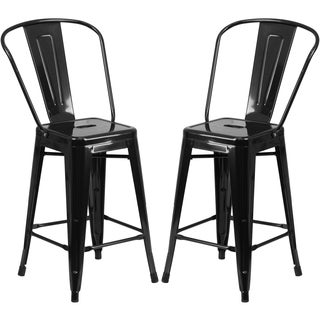 Black Metal Industrial-style Counter-height Bistro Stool