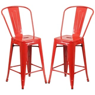 Industrial Style Red Counter Height Bistro Stool