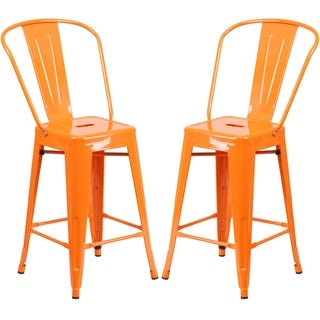 Industrial Style Orange Counter Height Bistro Stool