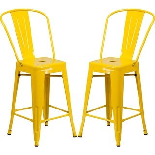 Industrial Style Yellow Counter Height Bistro Stool
