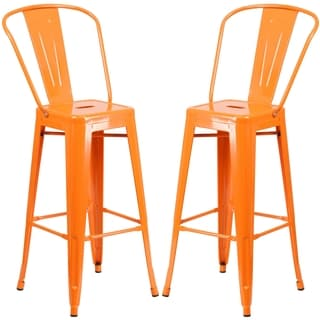 Industrial Orange Bistro Style Metal Barstool