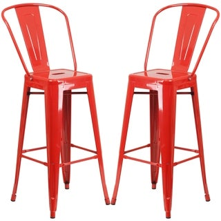 Industrial Red Bistro Style Metal Barstool