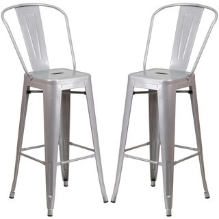 Industrial Silver Bistro Style Metal Barstool
