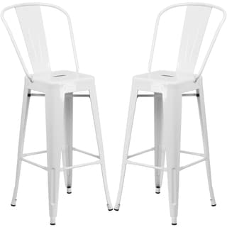 Industrial White Bistro Style Metal Barstool