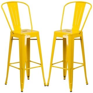Industrial Yellow Bistro Style Metal Barstool