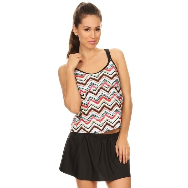 ca3aa1a6467 Shop Famous MakerWomen's Ethnic Chevron Nylon and Spandex Two-Piece Double  Crossback Blouson Tankini With Skirted Bottom - Free Shipping On Orders  Over $45 ...